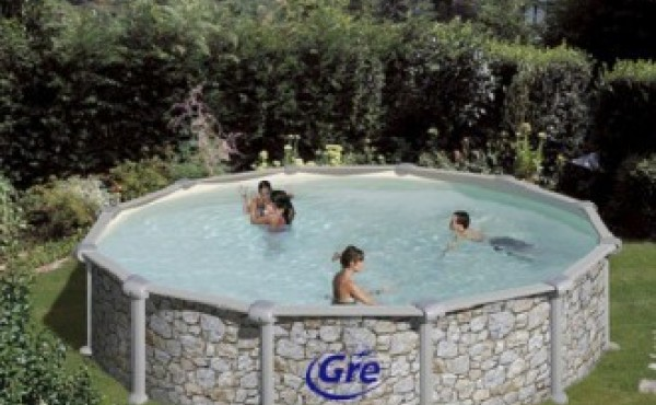 Prefabricated Pool Gre Skyathos Stone Imitation 3.5x1.32 M