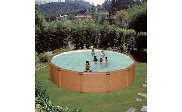 Round Pool Gre Mauritius Imitation Of Wood 4.60x1.32 M