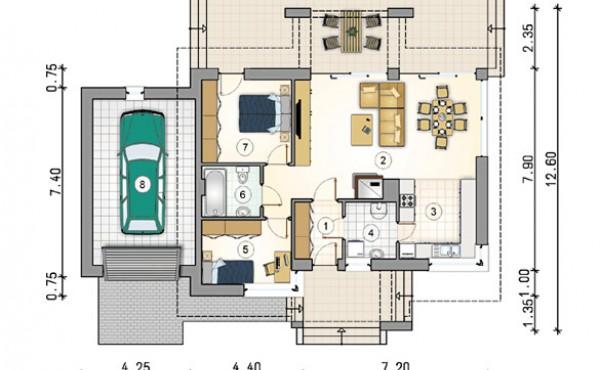 Едноетажна сглобяема къща EKO LIVING 96